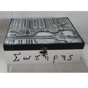 """Ξύλινο κουτί αποθήκευσης με εικόνα """"μουσική"""""""