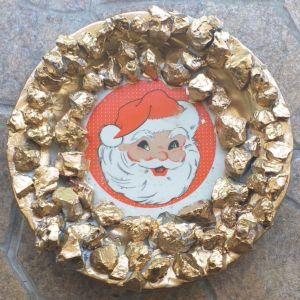 Χειροποίητο Διακοσμητικό πιάτο τοίχου  διαμέτρου 27cm, χριστουγεννιάτικο, Αι Βασίλης.