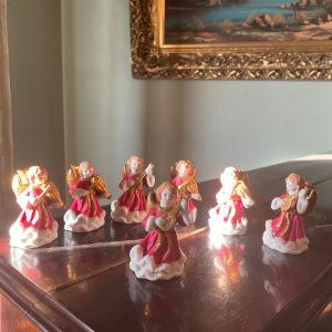 7 Vintage Χριστουγεννιάτικα Κόκκινα Αγγελάκια Κηροπήγια