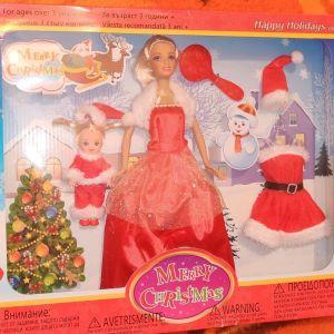 Κούκλα χριστουγεννιάτικο πλήρες σετ με κοριτσάκι και έξτρα φορεσιά