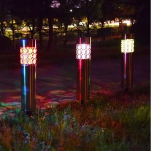 Ηλιακά φωτιστικά κήπου μεταλλικά με διασκόσμηση και εναλλασσόμενο χρωματιστό φως αυτονομία έως 10 ώρες (Σετ 5 τεμαχίων)