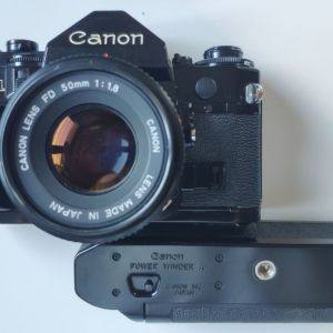 CANON A1 με φακό canon nfd 50mm f1.8 και canon power winder A
