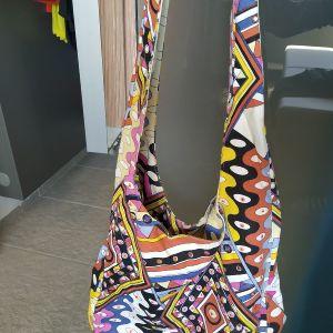 Τσάντα ώμου από καμβά, χρωματιστή