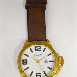 Ρολόι  OOZOO  Steel  XXL με καφέ λουράκι Τιμή 80 ευρώ.