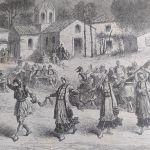 1860 Πανηγύρι στην Αγία Αννα ξυλογραφία