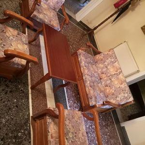 Καθιστικό σαλόνι σετ 5τεμαχιων  καρύδια λούστρο