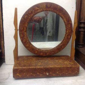 Καθρέφτης ξύλινος vintage με συρταρακι