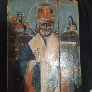 Παλαιά ρωσική εικόνα Αγίου Νικολάου χρονολογείται 18 αιώνα  είναι συντηρημένη και καθαρισμένη τιμή 800