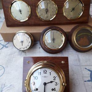 Ναυτικό, ΜΠΡΟΥΤΖΙΝΟ,  κουρδιστο ρολόι , πλοιου, αντικα , (επιτοιχιο) WEMPE Δυτικης Γερμανιας του 1950.