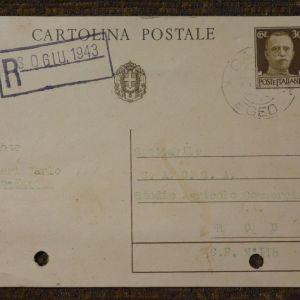 Cartolina Postale ταχυδρομημένη από Κάλυμνο για Ρόδο 1943 επι Ιταλίας