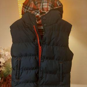 Μπλε αμανικο μπουφαν με κουκούλα 134cm 9years αγόρια