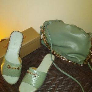 Σετ mules και τσάντα Δερμάτινα