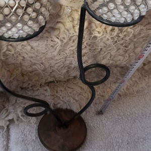 χειροποίητο διπλό κηροπήγιο με μεταλλική ποτήρια πέτρες  για ρεσο