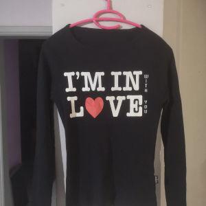 Μαύρη μακρυμάνικη μπλούζα με στάμπα Authentic (One size)