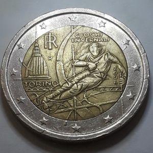 Επετειακό 2 ευρώ Ιταλία Τορίνο Χειμερινοί Ολυμπιακοί 2006 Commemorative Winter Olympics 2006