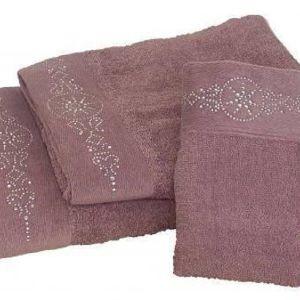 Σετ πετσέτες 3 τεμαχίων με στρας αμέθυστος nova
