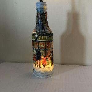 Χριστουγεννιάτικο χειροποίητο  διακοσμητικό μπουκάλι