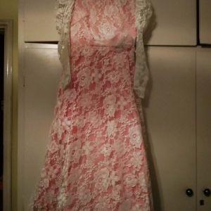 Vintage Ροζ Νυφικό Φόρεμα με Δαντέλα, δεκαετίας 1970, S-M