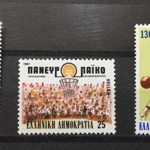 ΕΛΛΑΔΑ 1987 XXV ΠΡΩΤΑΘΛΗΜΑ BASKETBALL MNH