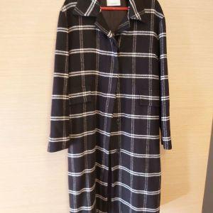 Μακρύ παλτό , ασπρόμαυρο καρό , MANGO , No S