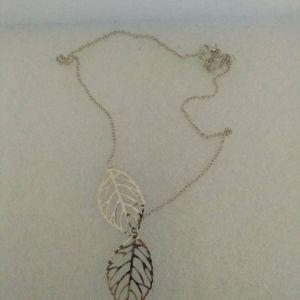 Κολιε Αλυσιδα Ασημενια Φυλλα