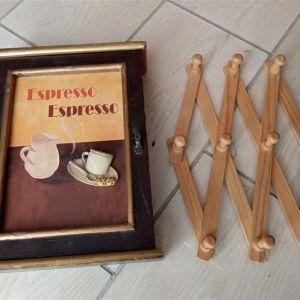 Κλειδοθήκη ξύλινη με πορτάκι + κρεμαστρα ξύλινη