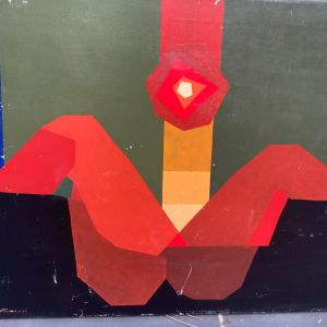 Geometric abstract composition painting on canvas singed 1969 πίνακας ζωγραφικής