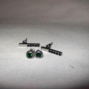 Σετ σκουλαρίκια αληθινό ασήμι με σμαραγδι πράσινο