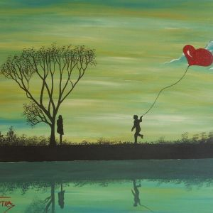 Lovers Overlooking the Green – Έργο ζωγραφισμένο στο χέρι με ακρυλικά χρώματα σε canvas  panel