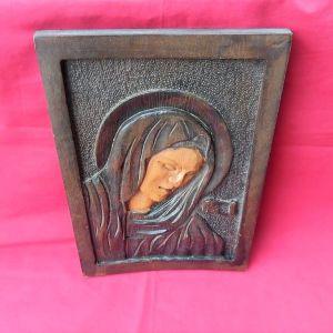 Ξύλινη  χειροποίητη σκαλιστή εικόνα της Παναγίας.