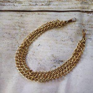 Μεταλλική αλυσίδα, έτοιμη, τριπλη, μήκος - 41 εκ., παχος- 10 χιλιοστα. χρυσό.