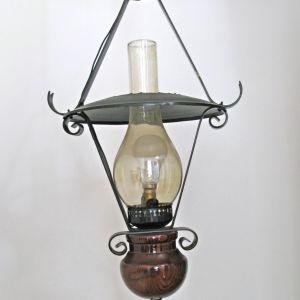 Vintage Φωτιστικό Οροφής Κρεμαστό με Λουστραρισμένο Ξύλο και Μέταλλο