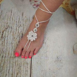 Κοσμήματα *Barefoot* για τα πόδια λευκο χρωμα. Καινουργια.