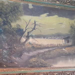 μεγάλος συλλεκτικός γνήσιος πίνακας εποχής σε καμβά
