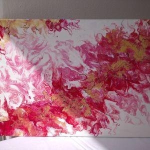 Αυθεντικος πινακας ζωγραφικης σε τελαρο με εκλεπτυσμενα χρωματα κοκκινο-χρυσο με μαυρες λεπτομερειες, περασμενος με βερνικι, μεγεθος 40/60εκ.