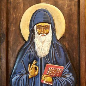 Άγιος Αρσένιος έκ Φαράσων Ξυλόγλυπτο-Αγιογραφημένο