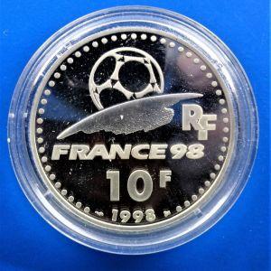 """ΓΑΛΛΙΑ -France 10 francs 1998 (PROOF) """"World Cup 1998 - France"""""""