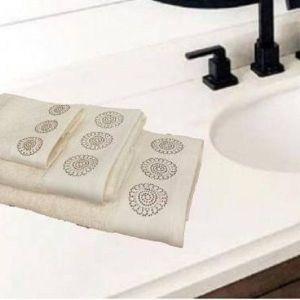 Σετ πετσέτες 3 τεμαχίων με στρας εκρού flower
