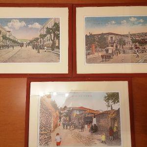 3 πίνακες με κορνίζα και θέμα την παληα θεσσαλονικη