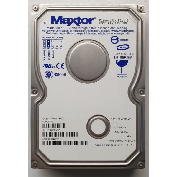 skliros diskos HDD 3.5΄΄ MAXTOR DiamondMax Plus  80Gb 7200rpm IDE/ATA-133