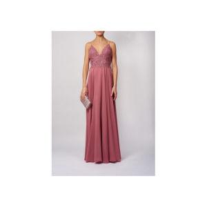 MASCARA LONDON ROSE EMBROIDED V SPAGHETTI STRAPPED DRESS
