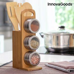 Σετ Μαγνητικών Μπαχαρικών με Σκεύη από Μπαμπού Bamsa InnovaGoods 7 τεμάχια