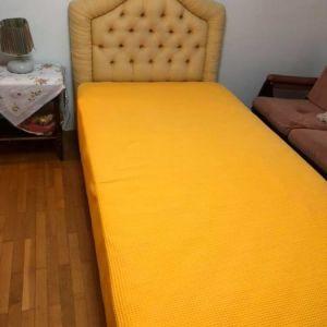 Κρεβάτι Μονό με Υφασμάτινο Κεφαλάρι