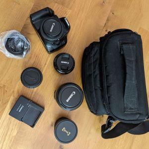 Canon Φακοί και Κάμερα 550D, μαζί με φίλτρα και αξεσουάρ