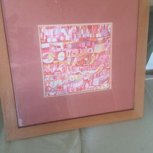 ζωγραφική σε κάδρο χειροποίητη Μουρακάμι στυλ