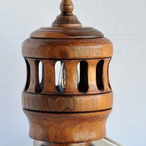 Φωτιστικό, Ξύλο, Ελληνική Καρυδιά , Ξυλοτορνευτό Χειροποίητο Μοναδικό Συλλεκτικό Δώρο_ 25Χ15cm_0144