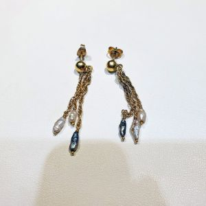 Χρυσά σκουλαρίκια 14Κ με μαργαριτάρια, 4.1γρ.