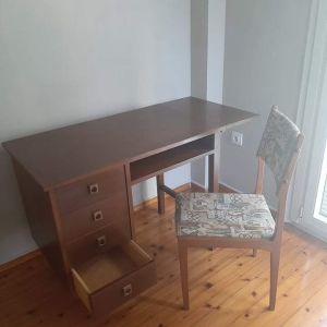 Ξύλινο κρεβάτι μονό και ασορτί γραφείο- δώρο το στρώμα του και η καρέκλα