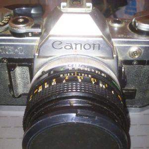canon AE1 με φιλμ με τηλεφακό tamron και flash & Nikomat