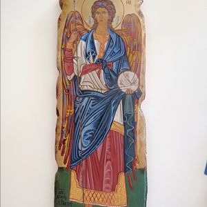 Χειροποίητη αγιογραφίας φορητή πάνω σε παλιό ξύλο